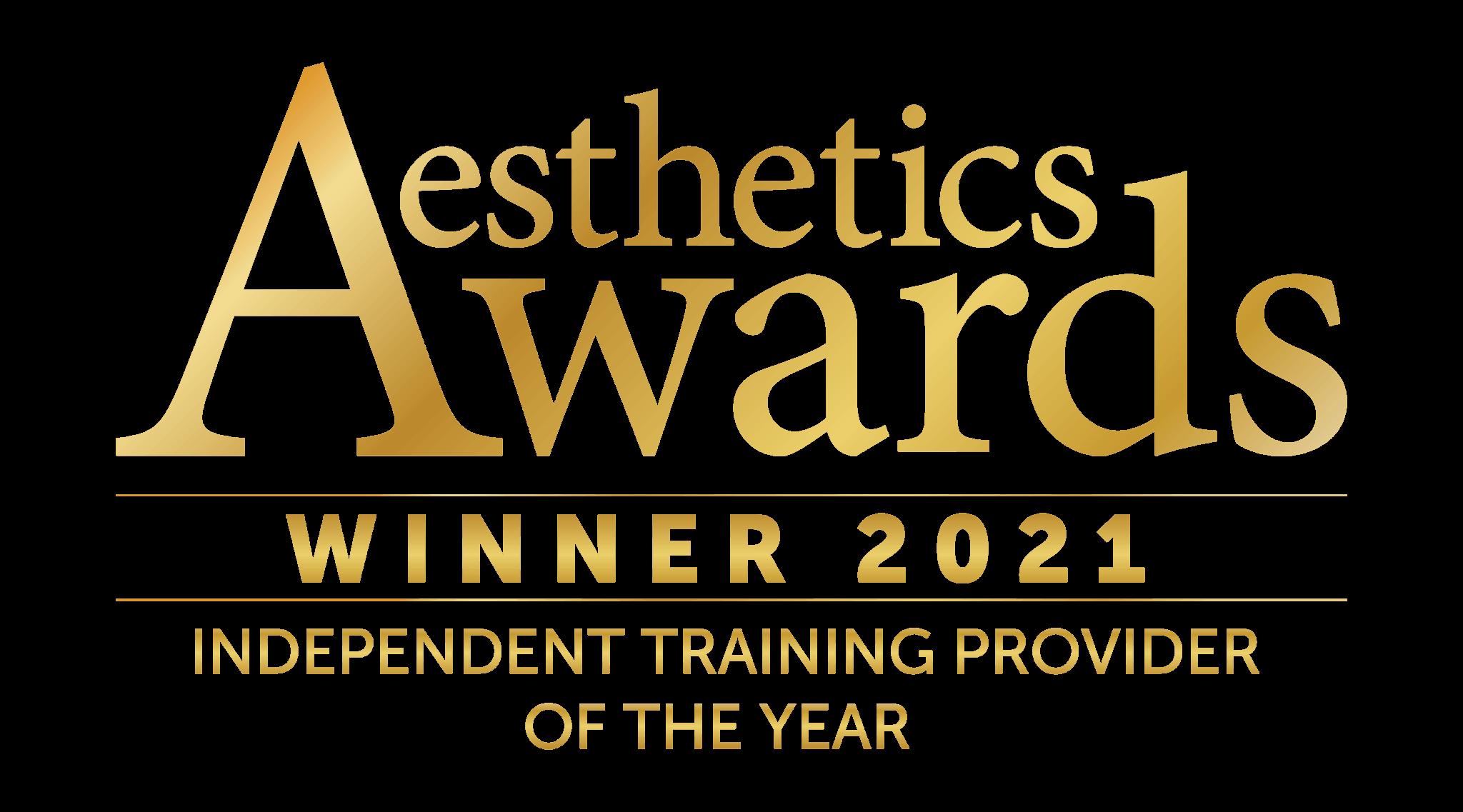 Aesthetics Awards 2021 Winner Best Independent Training Provider. Logo.